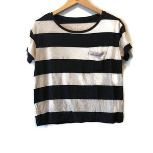 American Eagle Striped Cropped Pocket T-Shirt